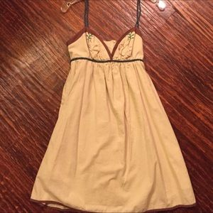 VOOM JOY HAN Tan Birds Dress w unique straps! NWT